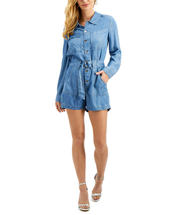 Button-Down Belted Romper GUESS