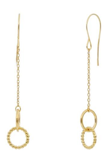 14K Yellow Gold Interlocking Circle Drop Earrings Bony Levy