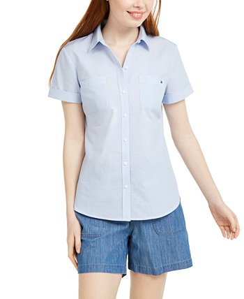 Striped Button-Down Camp Shirt, Created for Macy's Tommy Hilfiger