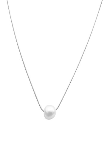 White Rhodium Plated 10mm Freshwater Pearl Pendant Necklace ADORNIA