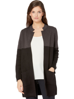 Color-Block Open Front Cardigan Anne Klein