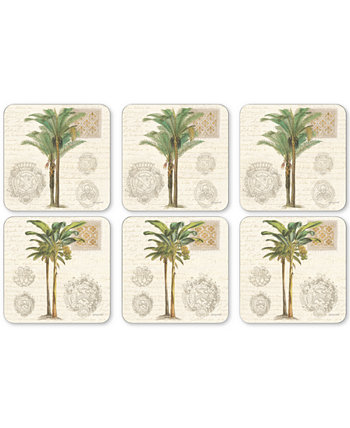 Pimpernel Vintage Palm Study Set of 6 Coasters Portmeirion