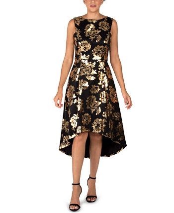 Floral-Print High-Low Dress Donna Ricco