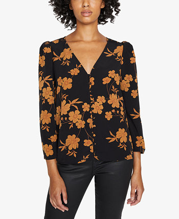 Make A Statement Printed Ruched-Sleeve Blouse Sanctuary