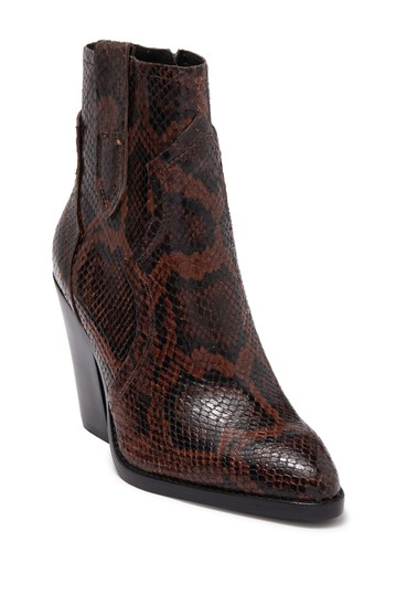Esquire Snake Embossed Western Bootie ASH