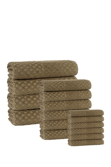 Glossy Turkish Cotton 16-Piece Towel Set - Olive Enchante Home