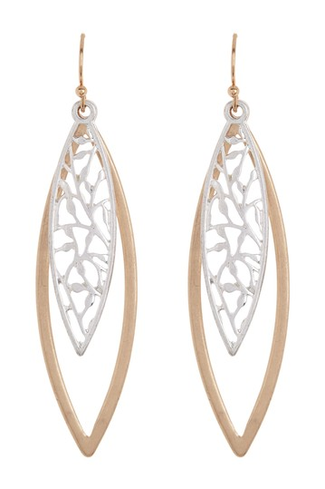 Filigree Two Tone Oval Earrings AREA STARS