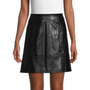 Croc-Embossed Faux Leather Skirt Pure Navy