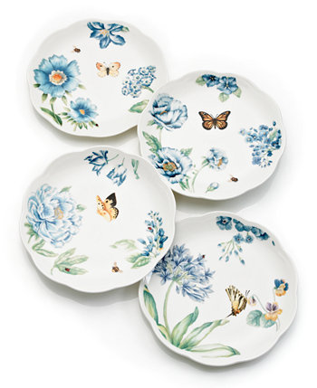 Set of 4 Butterfly Meadow Blue Assorted Dessert Plates Lenox