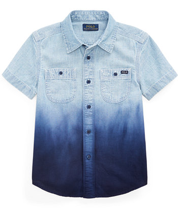 Little Boys Dip-Dyed Cotton Chambray Shirt Ralph Lauren