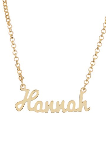 18K Yellow Gold Plated Sterling Silver 'Hannah' Name Pendant Necklace Argento Vivo