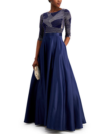 Printed-Bodice Ball Gown Betsy & Adam