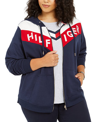 Plus Size Colorblocked Zippered Hoodie Tommy Hilfiger