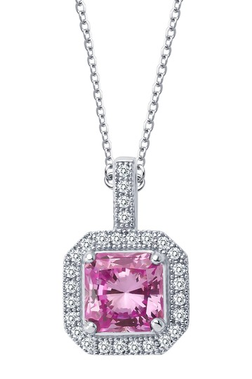 Platinum Plated Sterling Silver Simulated Diamond & Lab-Grown Pink Ruby Princess Cut Pendant Necklace LaFonn