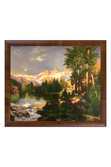 """The Three Tetons with Panzano Olivewood Frame, 23"""" x 27"""" No brands"""