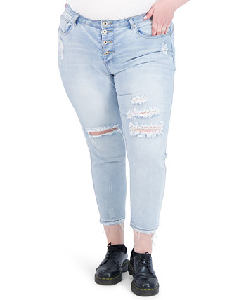 Trendy Plus Size Four-Button Destructed High-Rise Skinny Jeans Gogo Jeans