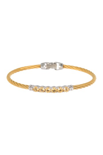 18K Yellow Gold Stainless Steel Cable Cascade Chain Bracelet ALOR