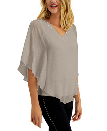 Petite Embellished Poncho Top, Created for Macy's J&M Collection