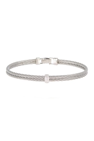 18K White Gold Stainless Steel Cable Cascade Chain Bracelet ALOR