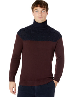 Cable Color-Block Turtleneck Sweater Eleventy