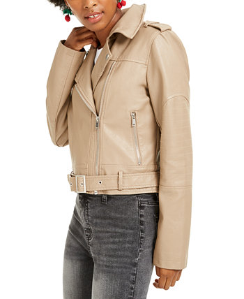 Juniors' Faux-Leather Belted Moto Jacket Collection B