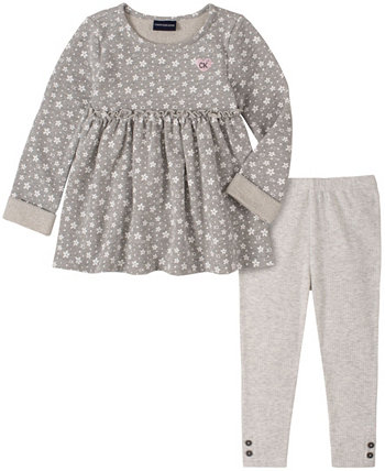 Toddler Girl All Over Stars Printed French Terry Tunic with Legging, 2 Piece Set Calvin Klein