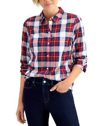 Cotton Plaid Shirt, Created for Macy's Charter Club