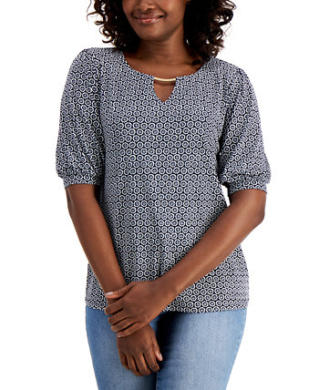 Puff-Sleeve Keyhole Top, Created for Macy's J&M Collection