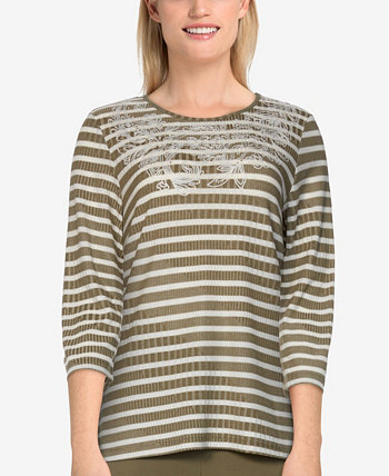 Petite Size San Antonio Casual Ribbed Striped Embroidered Top Alfred Dunner