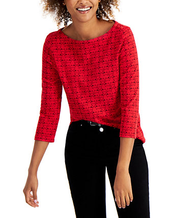Cotton Printed 3/4-Sleeve Top, Created for Macy's Charter Club