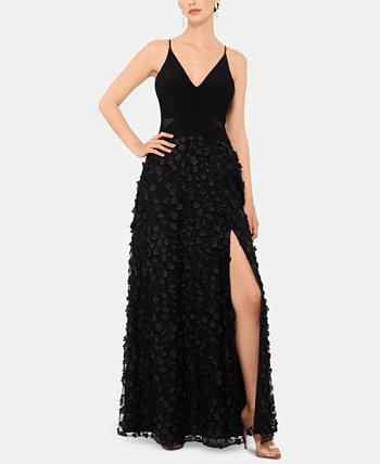 Petite Sleeveless Floral-Textured Gown XSCAPE