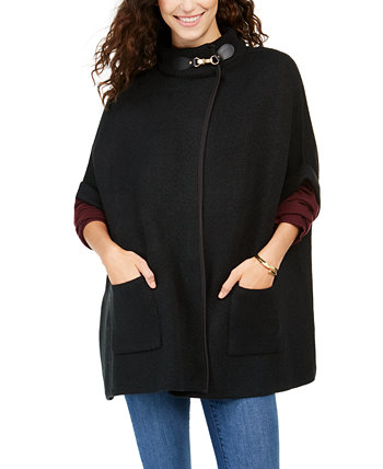 Solid Riding Cape With Welt Pockets Cejon