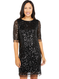 All Over Sequins on Mesh A-Line Dress with Beaded Fringe Trim Taylor