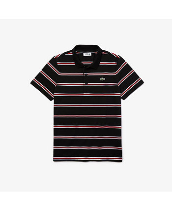 Men's SPORT Short Sleeve Polo Shirt with Tricolor Horizontal Stripes Lacoste