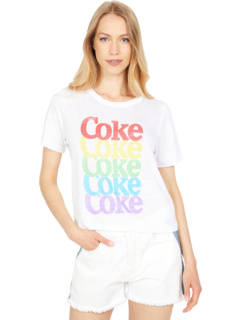 """""""Stacked Coke"""" Linen Jersey Cropped Short Sleeve Easy Tee Chaser"""