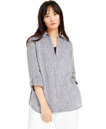 Petite Linen Button-Front Shirt, Created for Macy's Charter Club