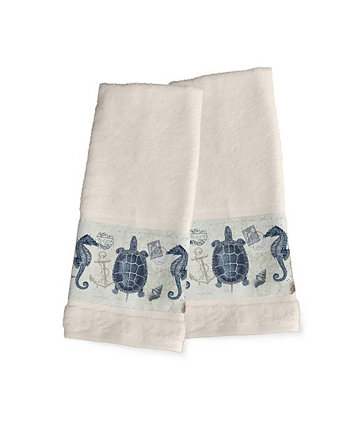 Seaside Postcard 2-Pc. Hand Towel Set Laural Home