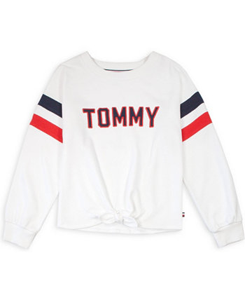 Big Girl's Pieced Tie-Front Crewneck Sweatshirt Tommy Hilfiger
