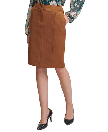 Faux-Suede Pencil Skirt Calvin Klein