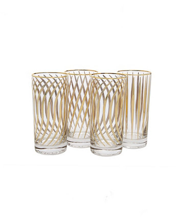 Set of 4 Mix and Match Water Tumblers with 24K Gold Design Classic Touch
