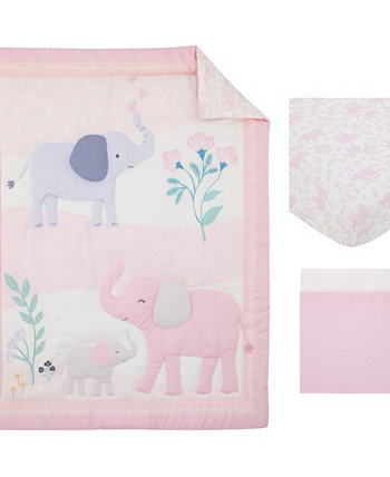 Sweet Floral Elephants 3 Piece Crib Bedding Set Carters
