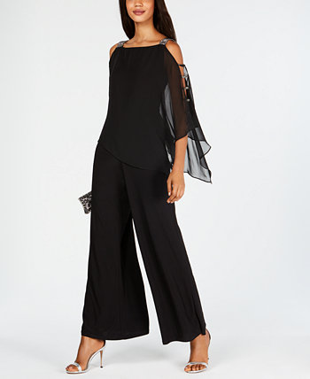 Petite Cold-Shoulder Rhinestone Jumpsuit MSK
