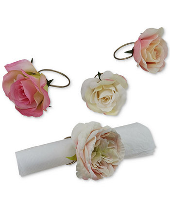Valentine's Day Ombré Rose Napkin Rings, Set of 4, Created for Macy's Martha Stewart Collection
