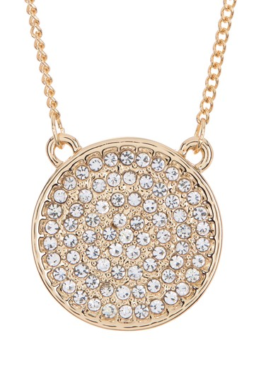 Pave Crystal Disc Pendant Necklace Vince Camuto