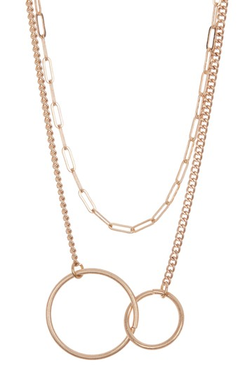 Gold-Tone Double Layer Circle Link Necklace AREA STARS
