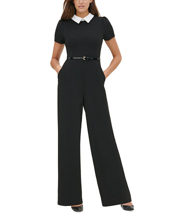 Petite Contrast-Collar Belted Jumpsuit Tommy Hilfiger