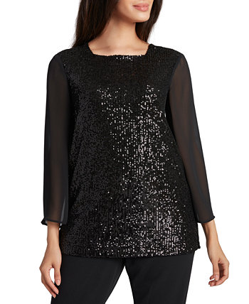 Sequinned Chiffon-Sleeve Top Tahari by ASL