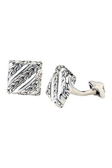 Sterling Silver Chain Link Square Cuff Links Samuel B Jewelry
