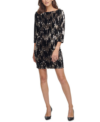 Velvet Sequined Shift Dress Eliza J