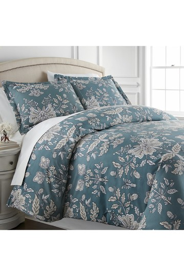 King/California King Luxury Premium Oversized Comforter Sets - Vintage Garden/Smokey Blue SOUTHSHORE FINE LINENS